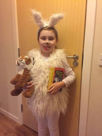 Katie being Knitbone for World Book Day