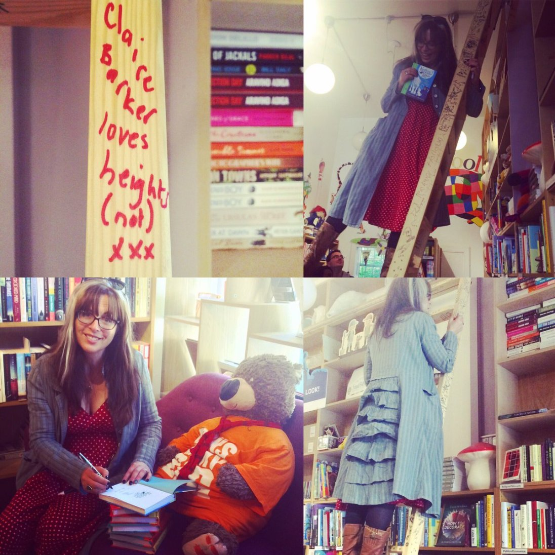 signing and ladder climbing in The Edinburgh Bookshop