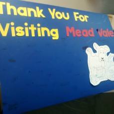 A huge thank you board from Mead Vale