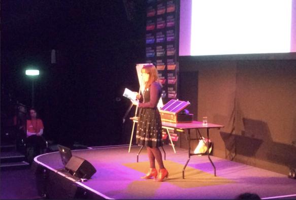 On stage at Cheltenham Festival in front of 300 children